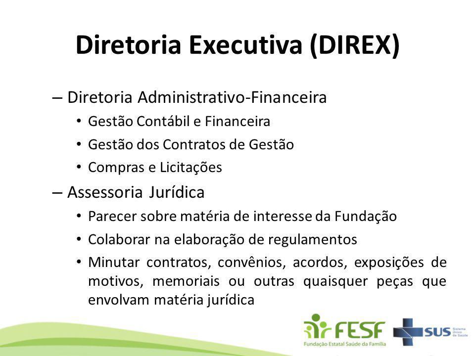 Diretoria Executiva (DIREX) – Diretoria Administrativo-Financeira Gestão Contábil e Financeira Gestão dos Contratos de Gestão Compras e Licitações – A