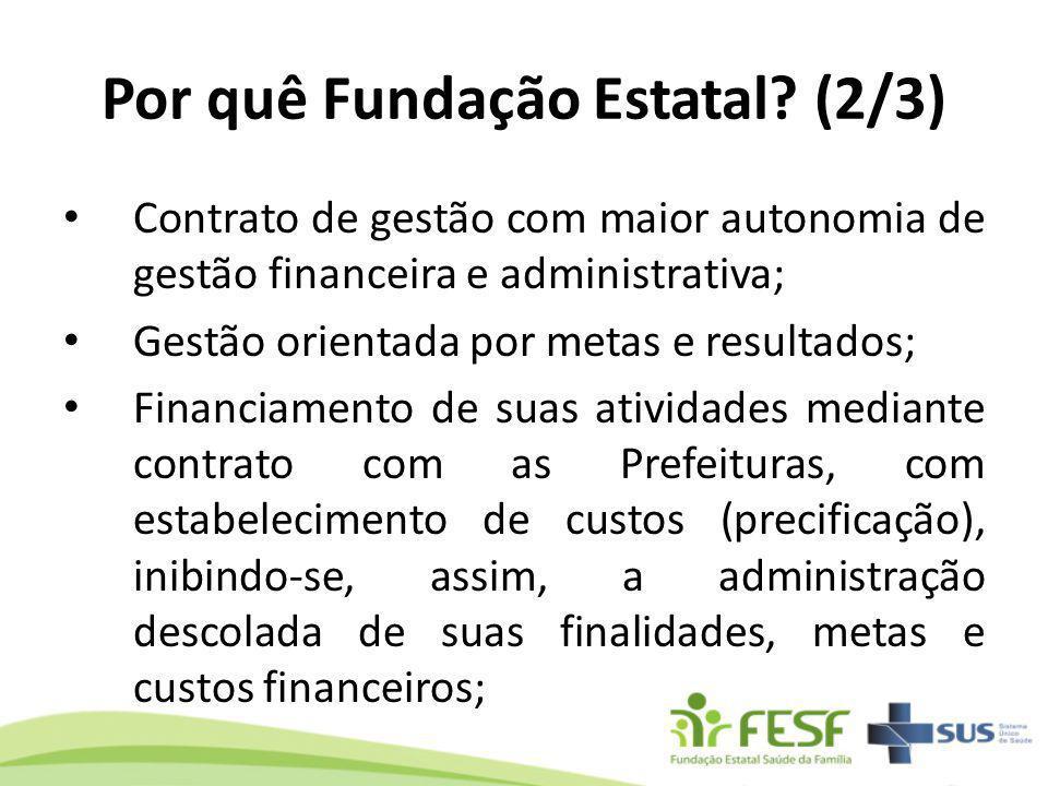 Por quê Fundação Estatal? (2/3) Contrato de gestão com maior autonomia de gestão financeira e administrativa; Gestão orientada por metas e resultados;
