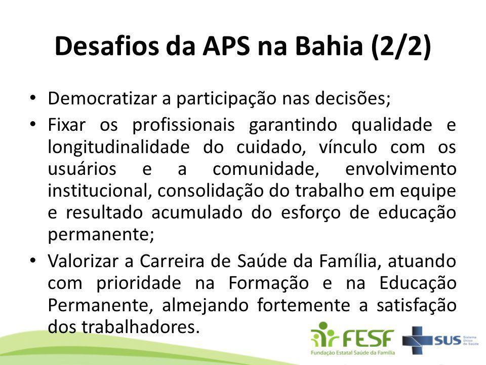 Desafios da APS na Bahia (2/2) Democratizar a participação nas decisões; Fixar os profissionais garantindo qualidade e longitudinalidade do cuidado, v