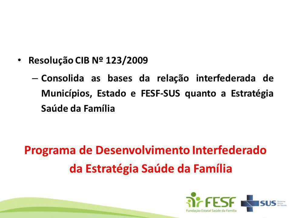 Resolução CIB Nº 123/2009 – Consolida as bases da relação interfederada de Municípios, Estado e FESF-SUS quanto a Estratégia Saúde da Família Programa