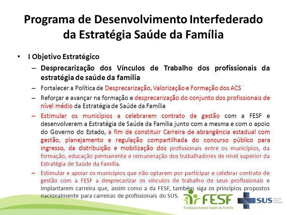 I Objetivo Estratégico – Desprecarização dos Vínculos de Trabalho dos profissionais da estratégia de saúde da família – Fortalecer a Política de Despr