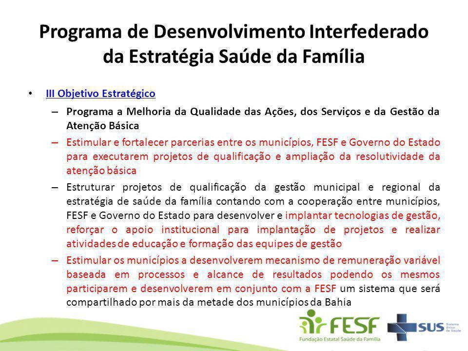 Programa de Desenvolvimento Interfederado da Estratégia Saúde da Família III Objetivo Estratégico III Objetivo Estratégico – Programa a Melhoria da Qu