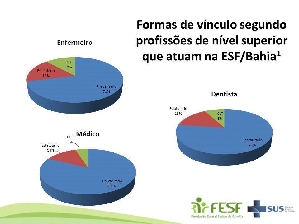 Formas de vínculo segundo profissões de nível superior que atuam na ESF/Bahia 1