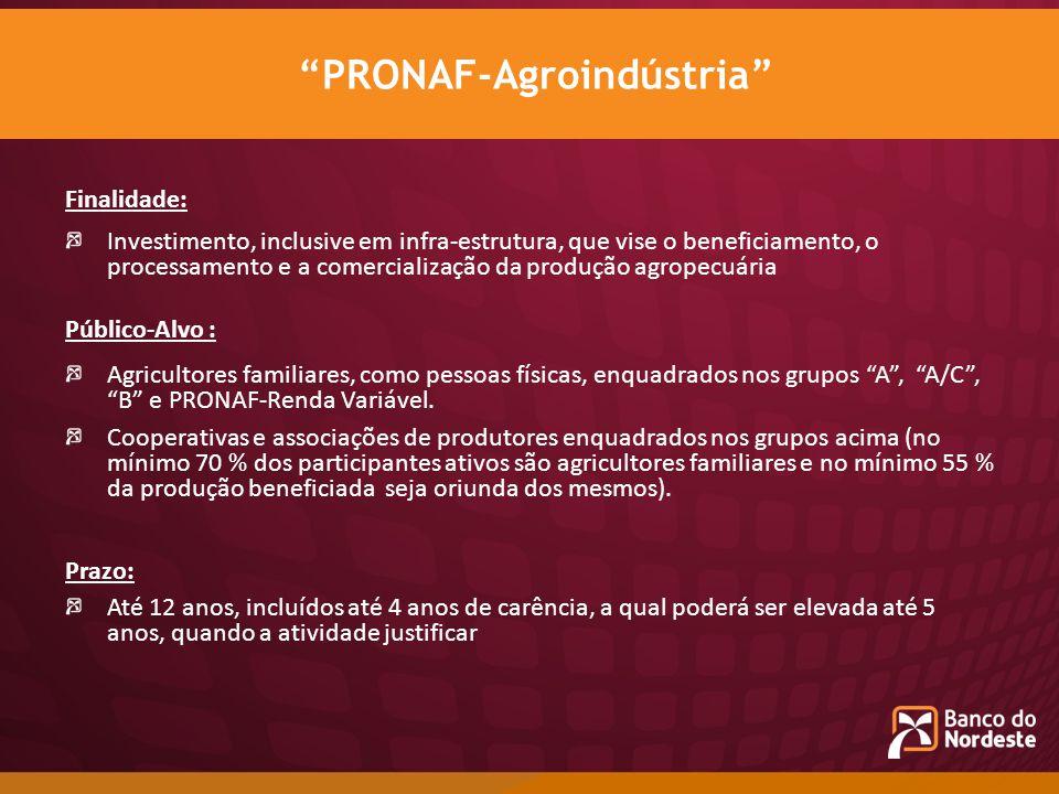 Finalidade: Investimento, inclusive em infra-estrutura, que vise o beneficiamento, o processamento e a comercialização da produção agropecuária Públic