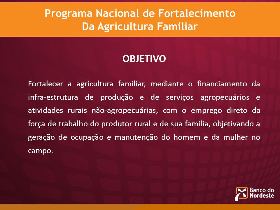 OBJETIVO Fortalecer a agricultura familiar, mediante o financiamento da infra-estrutura de produção e de serviços agropecuários e atividades rurais nã