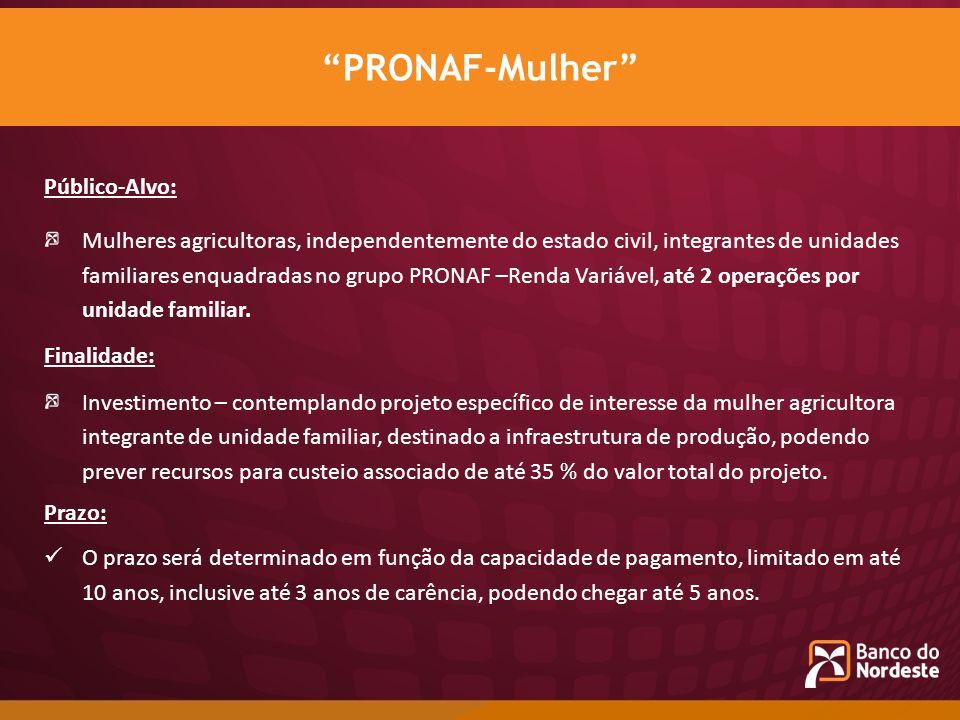 Público-Alvo: Mulheres agricultoras, independentemente do estado civil, integrantes de unidades familiares enquadradas no grupo PRONAF –Renda Variável
