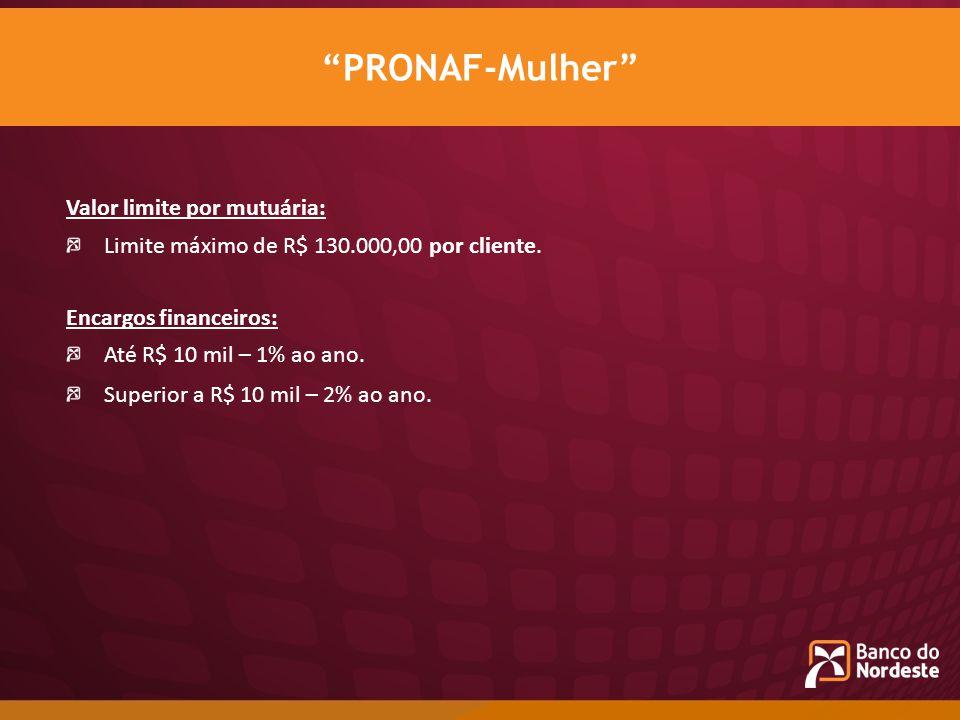 Valor limite por mutuária: Limite máximo de R$ 130.000,00 por cliente. Encargos financeiros: Até R$ 10 mil – 1% ao ano. Superior a R$ 10 mil – 2% ao a