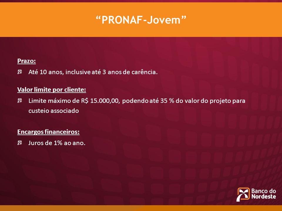 Prazo: Até 10 anos, inclusive até 3 anos de carência. Valor limite por cliente: Limite máximo de R$ 15.000,00, podendo até 35 % do valor do projeto pa