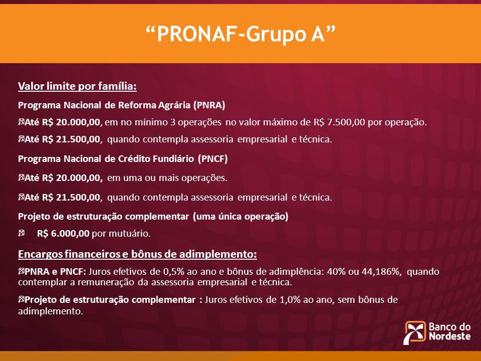 Valor limite por família: Programa Nacional de Reforma Agrária (PNRA) Até R$ 20.000,00, em no mínimo 3 operações no valor máximo de R$ 7.500,00 por op
