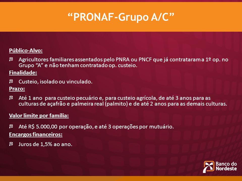 Público-Alvo: Agricultores familiares assentados pelo PNRA ou PNCF que já contrataram a 1º op. no Grupo A e não tenham contratado op. custeio. Finalid