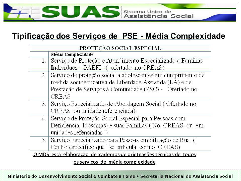 Ministério do Desenvolvimento Social e Combate à Fome Secretaria Nacional de Assistência Social Tipificação dos Serviços de PSE - Média Complexidade