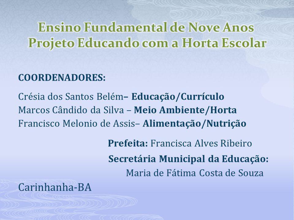 COORDENADORES: Crésia dos Santos Belém– Educação/Currículo Marcos Cândido da Silva – Meio Ambiente/Horta Francisco Melonio de Assis– Alimentação/Nutri