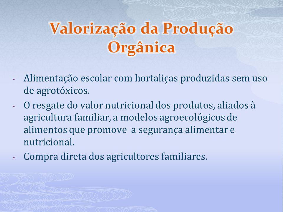 Alimentação escolar com hortaliças produzidas sem uso de agrotóxicos. O resgate do valor nutricional dos produtos, aliados à agricultura familiar, a m