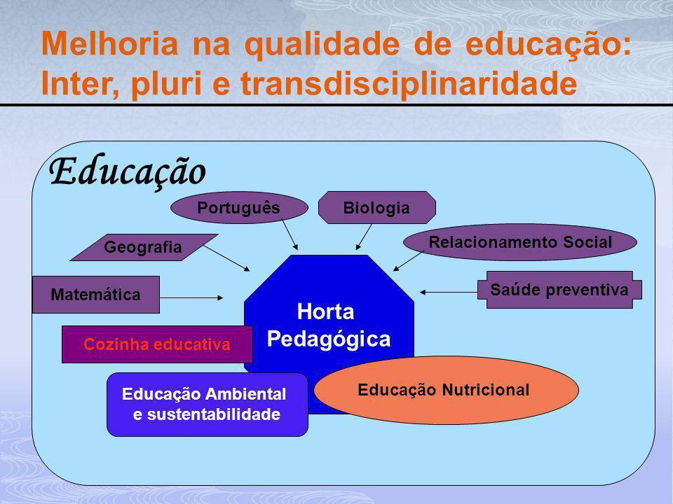 Horta Pedagógica Educação Nutricional Educação Ambiental e sustentabilidade Matemática Geografia Português Saúde preventiva Biologia Relacionamento So