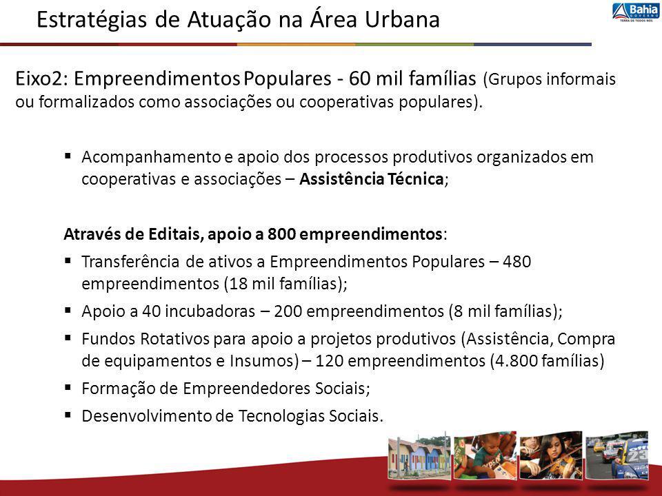 Eixo2: Empreendimentos Populares - 60 mil famílias (Grupos informais ou formalizados como associações ou cooperativas populares). Acompanhamento e apo
