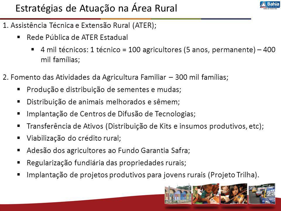1. Assistência Técnica e Extensão Rural (ATER); Rede Pública de ATER Estadual 4 mil técnicos: 1 técnico = 100 agricultores (5 anos, permanente) – 400
