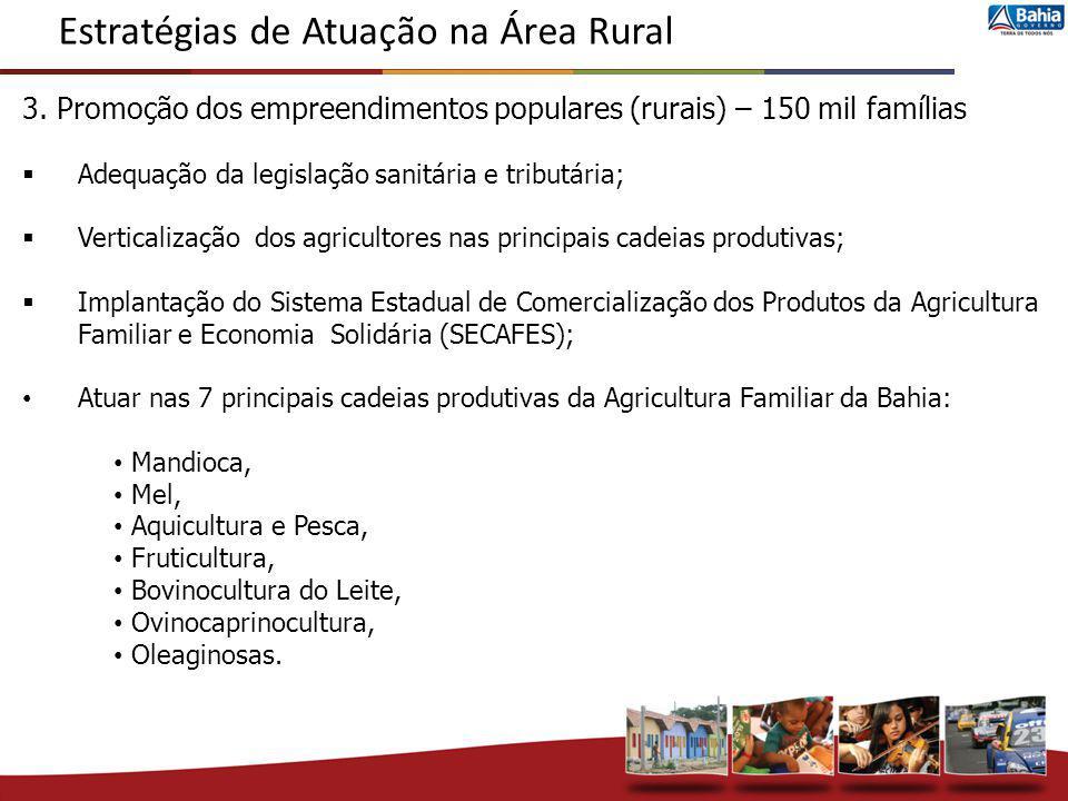3. Promoção dos empreendimentos populares (rurais) – 150 mil famílias Adequação da legislação sanitária e tributária; Verticalização dos agricultores