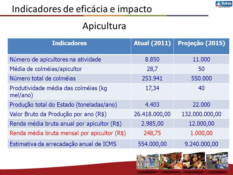 Indicadores de eficácia e impacto IndicadoresAtual (2011)Projeção (2015) Número de apicultores na atividade8.85011.000 Média de colméias/apicultor28,7