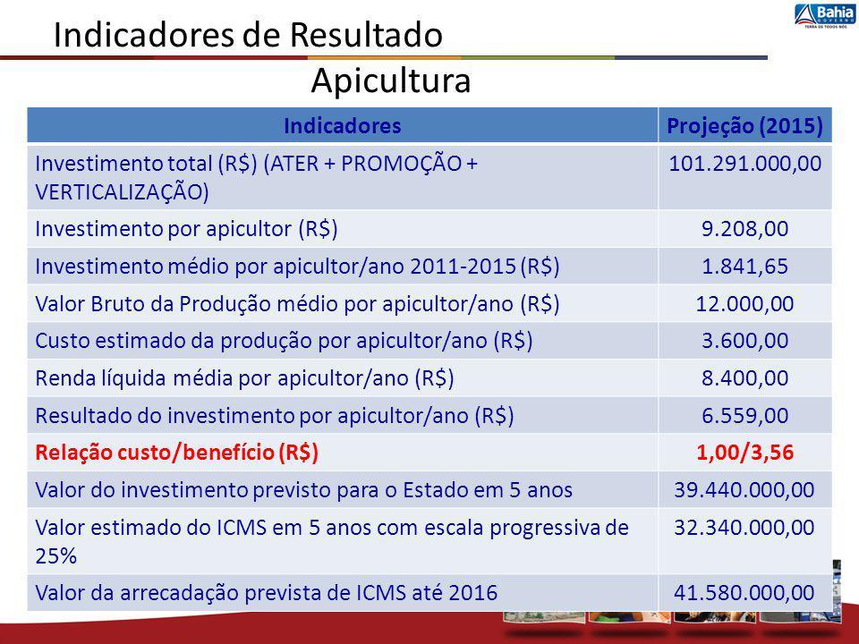 Indicadores de Resultado Apicultura IndicadoresProjeção (2015) Investimento total (R$) (ATER + PROMOÇÃO + VERTICALIZAÇÃO) 101.291.000,00 Investimento