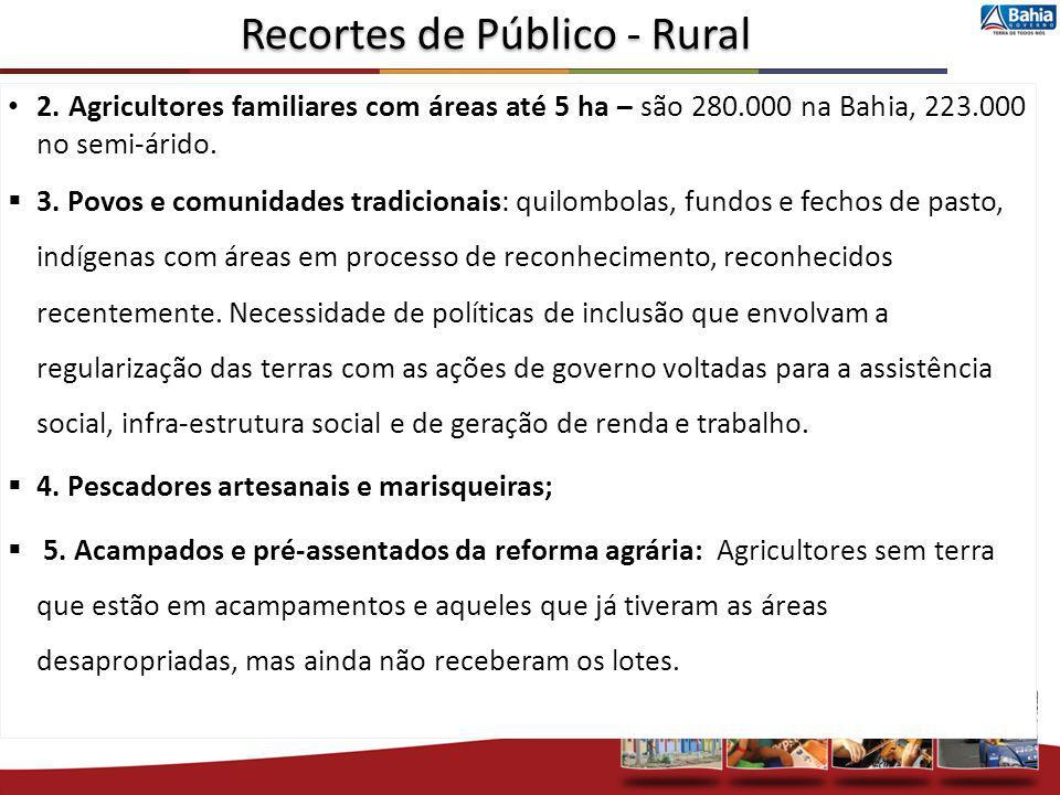 2. Agricultores familiares com áreas até 5 ha – são 280.000 na Bahia, 223.000 no semi-árido. 3. Povos e comunidades tradicionais: quilombolas, fundos