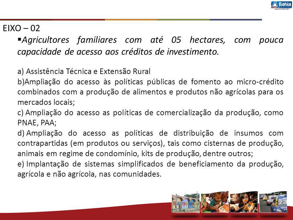 EIXO – 02 Agricultores familiares com até 05 hectares, com pouca capacidade de acesso aos créditos de investimento. a) Assistência Técnica e Extensão