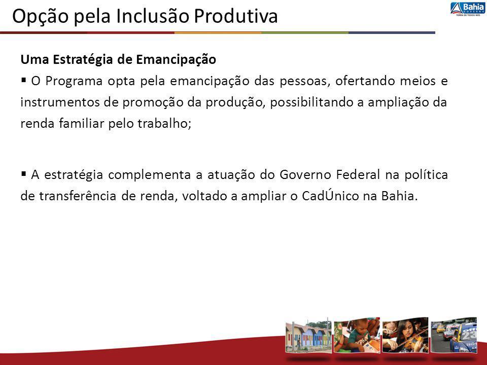 Opção pela Inclusão Produtiva Uma Estratégia de Emancipação O Programa opta pela emancipação das pessoas, ofertando meios e instrumentos de promoção d