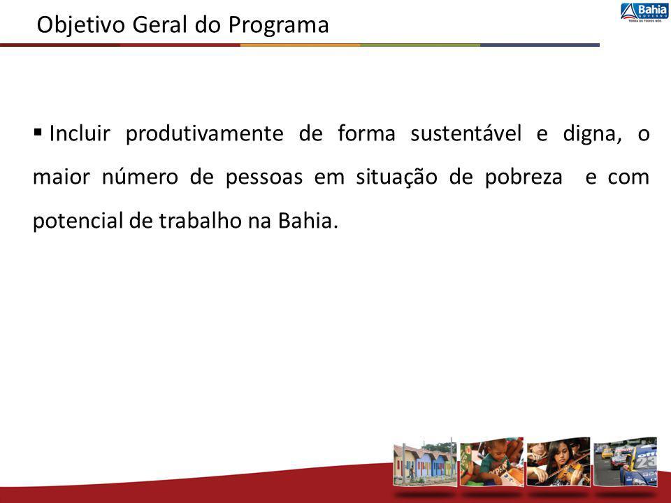 Objetivo Geral do Programa Incluir produtivamente de forma sustentável e digna, o maior número de pessoas em situação de pobreza e com potencial de tr