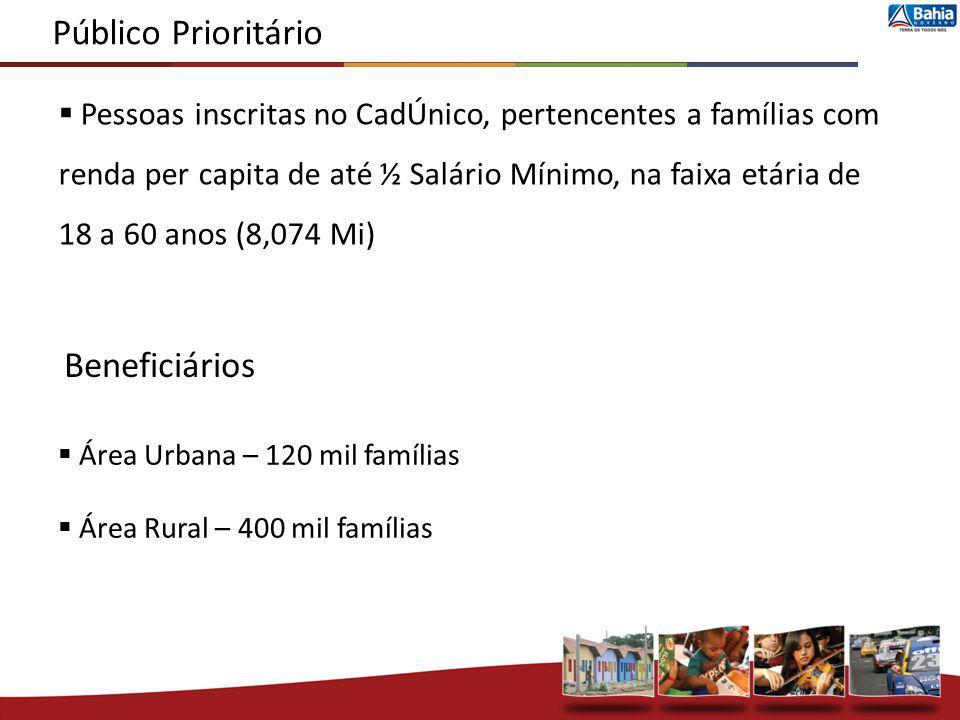 Pessoas inscritas no CadÚnico, pertencentes a famílias com renda per capita de até ½ Salário Mínimo, na faixa etária de 18 a 60 anos (8,074 Mi) Públic
