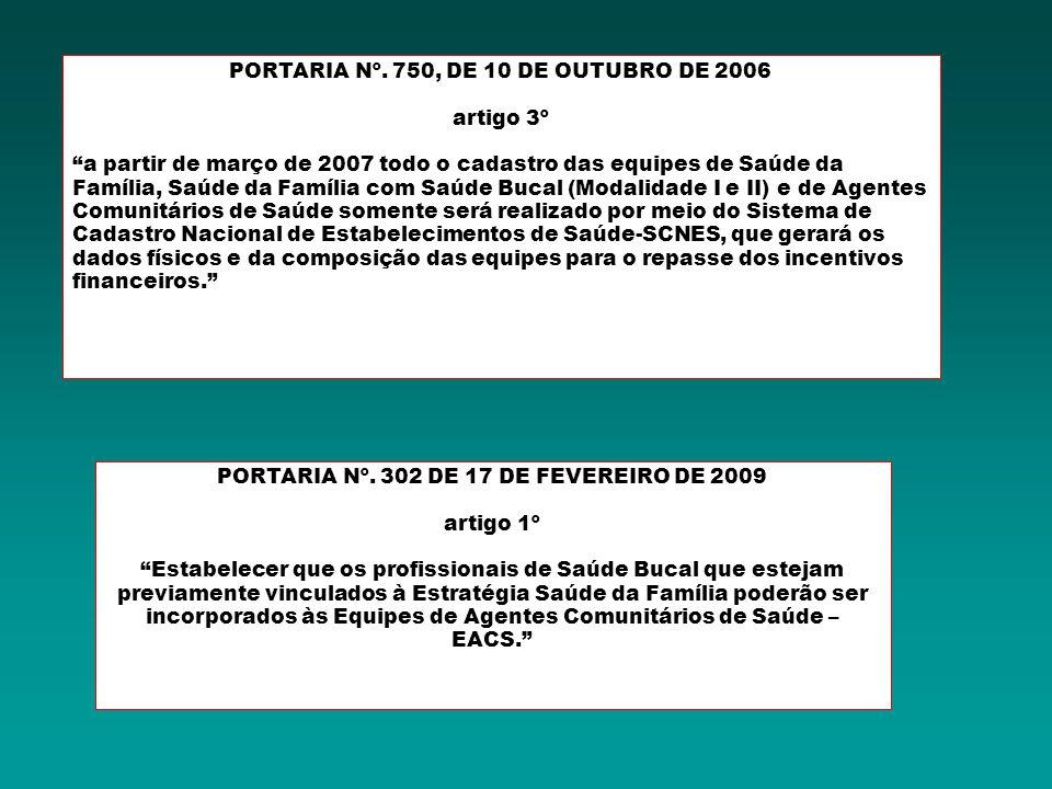 PORTARIA Nº. 750, DE 10 DE OUTUBRO DE 2006 artigo 3º a partir de março de 2007 todo o cadastro das equipes de Saúde da Família, Saúde da Família com S