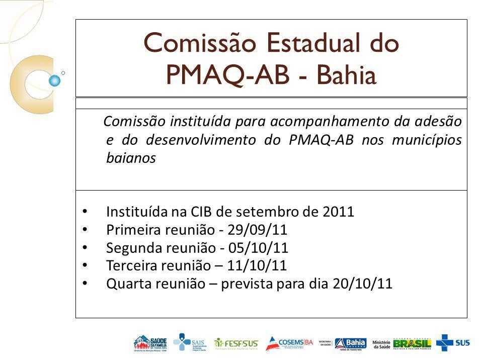 Comissão Estadual do PMAQ-AB - Bahia Comissão instituída para acompanhamento da adesão e do desenvolvimento do PMAQ-AB nos municípios baianos Instituí