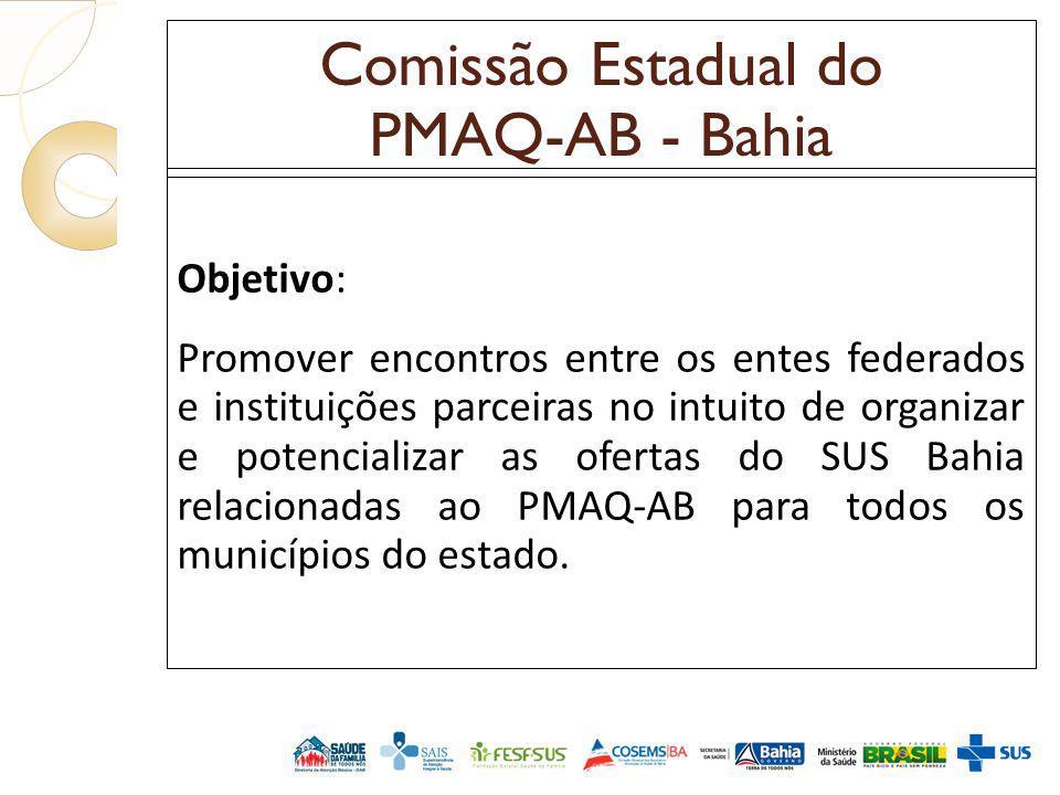 Comissão Estadual do PMAQ-AB - Bahia Objetivo: Promover encontros entre os entes federados e instituições parceiras no intuito de organizar e potencia