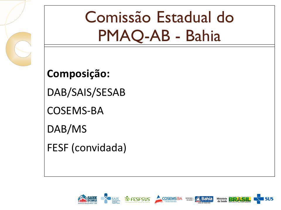 Comissão Estadual do PMAQ-AB - Bahia Composição: DAB/SAIS/SESAB COSEMS-BA DAB/MS FESF (convidada)