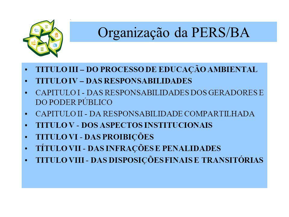 TITULO III – DO PROCESSO DE EDUCAÇÃO AMBIENTAL TITULO IV – DAS RESPONSABILIDADES CAPITULO I - DAS RESPONSABILIDADES DOS GERADORES E DO PODER PÚBLICO C