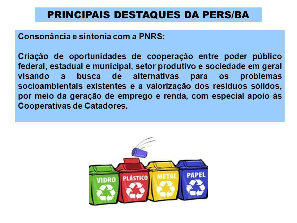 Consonância e sintonia com a PNRS: Criação de oportunidades de cooperação entre poder público federal, estadual e municipal, setor produtivo e socieda