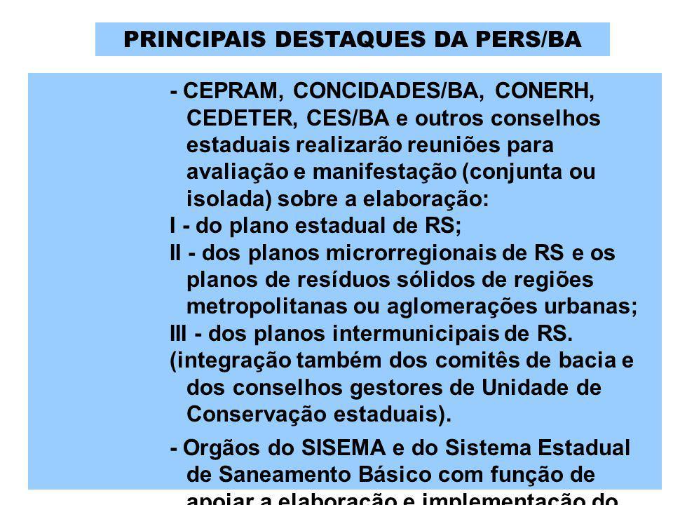 - CEPRAM, CONCIDADES/BA, CONERH, CEDETER, CES/BA e outros conselhos estaduais realizarão reuniões para avaliação e manifestação (conjunta ou isolada)