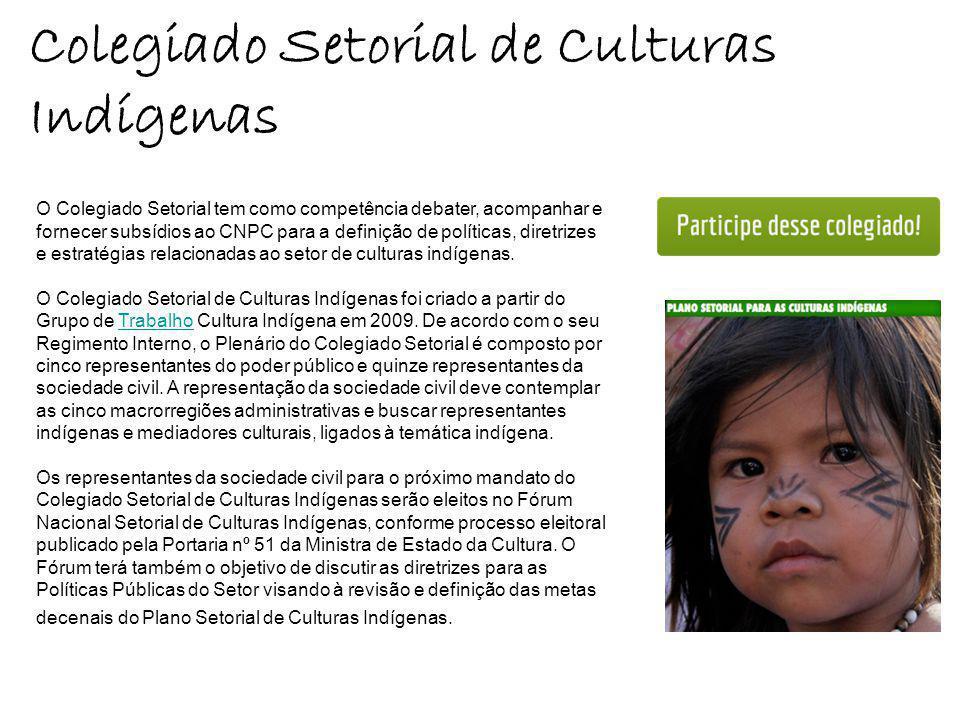 Colegiado Setorial de Culturas Indígenas O Colegiado Setorial tem como competência debater, acompanhar e fornecer subsídios ao CNPC para a definição de políticas, diretrizes e estratégias relacionadas ao setor de culturas indígenas.