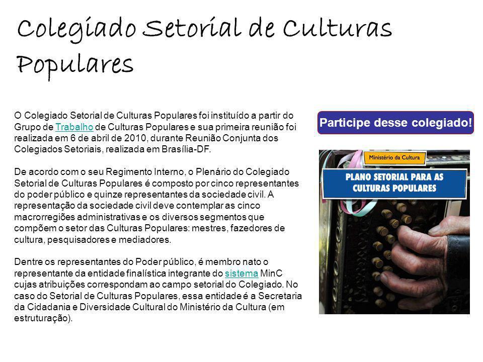O Colegiado Setorial de Culturas Populares foi instituído a partir do Grupo de Trabalho de Culturas Populares e sua primeira reunião foi realizada em 6 de abril de 2010, durante Reunião Conjunta dos Colegiados Setoriais, realizada em Brasília-DF.Trabalho De acordo com o seu Regimento Interno, o Plenário do Colegiado Setorial de Culturas Populares é composto por cinco representantes do poder público e quinze representantes da sociedade civil.