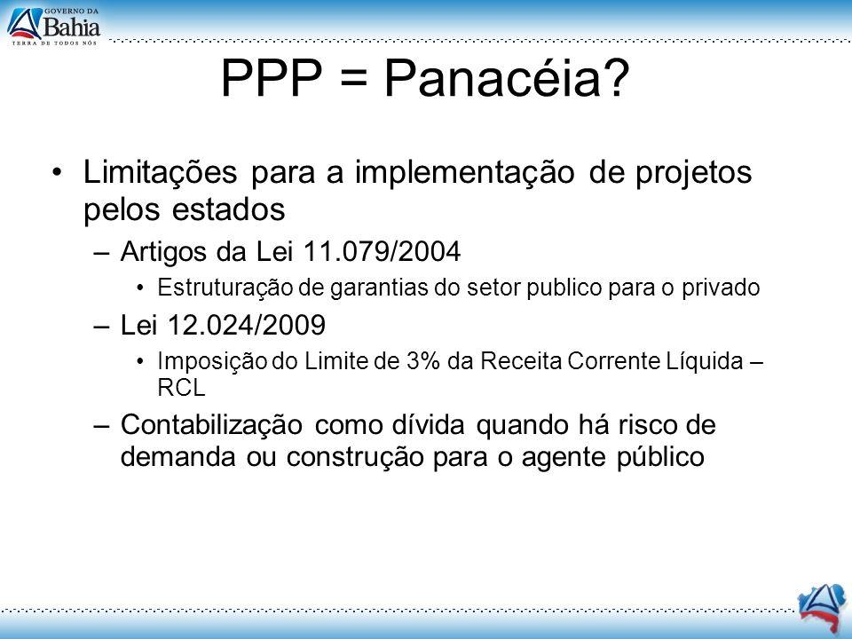 PPP = Panacéia? Limitações para a implementação de projetos pelos estados –Artigos da Lei 11.079/2004 Estruturação de garantias do setor publico para