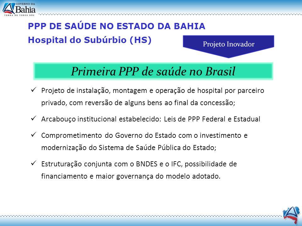 PPP DE SAÚDE NO ESTADO DA BAHIA Hospital do Subúrbio (HS) Projeto de instalação, montagem e operação de hospital por parceiro privado, com reversão de