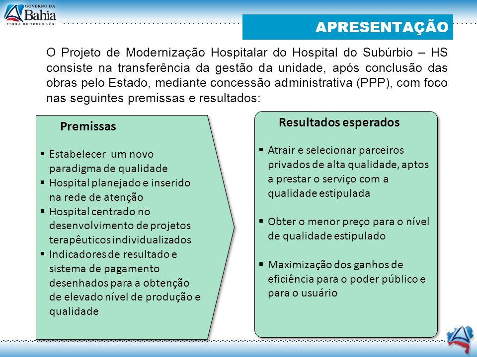 O Projeto de Modernização Hospitalar do Hospital do Subúrbio – HS consiste na transferência da gestão da unidade, após conclusão das obras pelo Estado