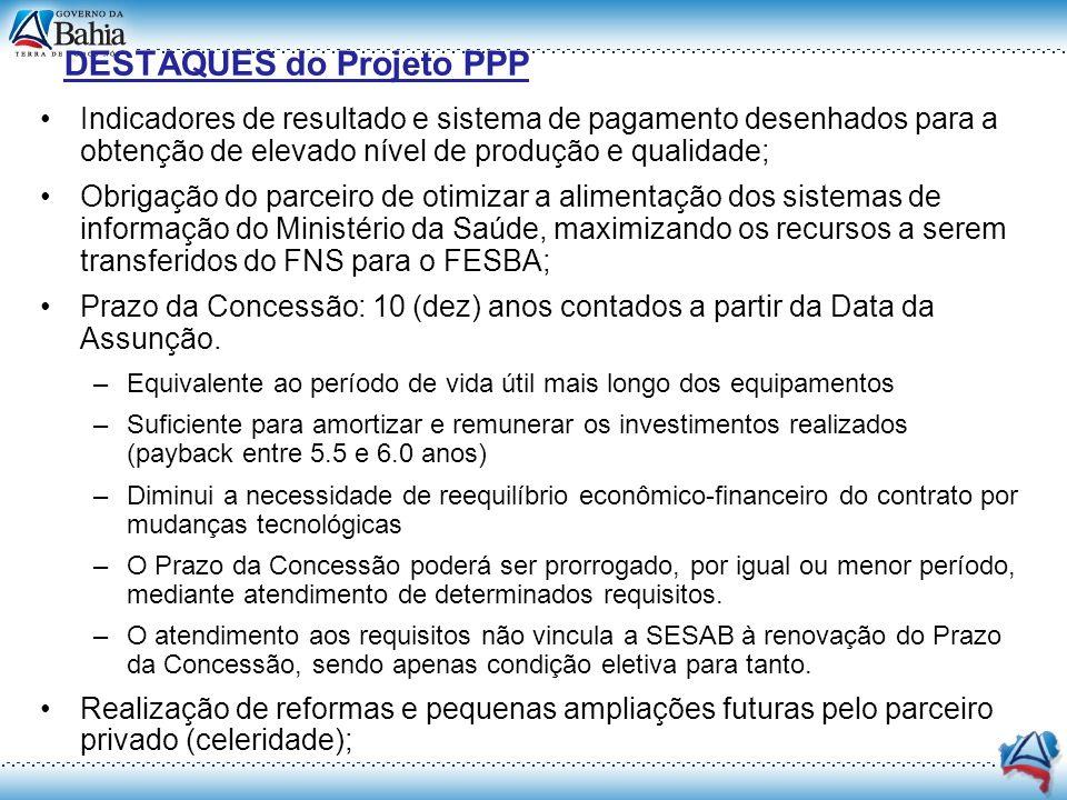 DESTAQUES do Projeto PPP Indicadores de resultado e sistema de pagamento desenhados para a obtenção de elevado nível de produção e qualidade; Obrigaçã