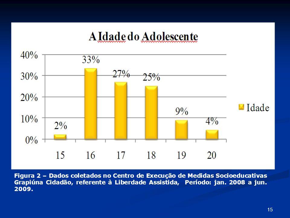 Figura 2 – Dados coletados no Centro de Execução de Medidas Socioeducativas Grapiúna Cidadão, referente à Liberdade Assistida, Período: jan. 2008 a ju