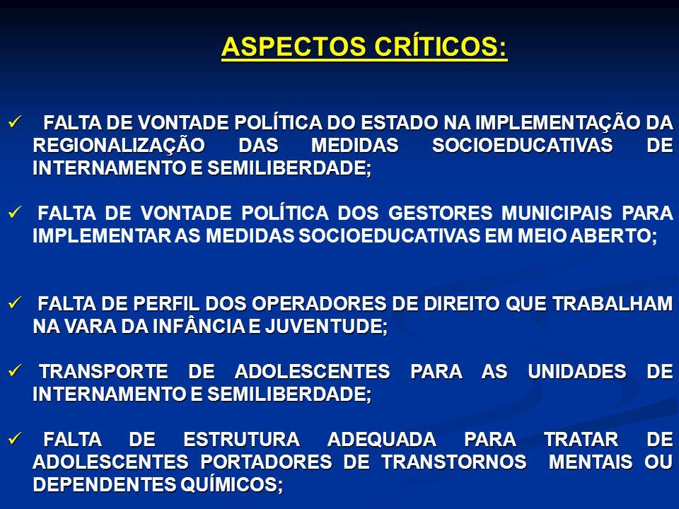 ASPECTOS CRÍTICOS: FALTA DE VONTADE POLÍTICA DO ESTADO NA IMPLEMENTAÇÃO DA REGIONALIZAÇÃO DAS MEDIDAS SOCIOEDUCATIVAS DE INTERNAMENTO E SEMILIBERDADE;