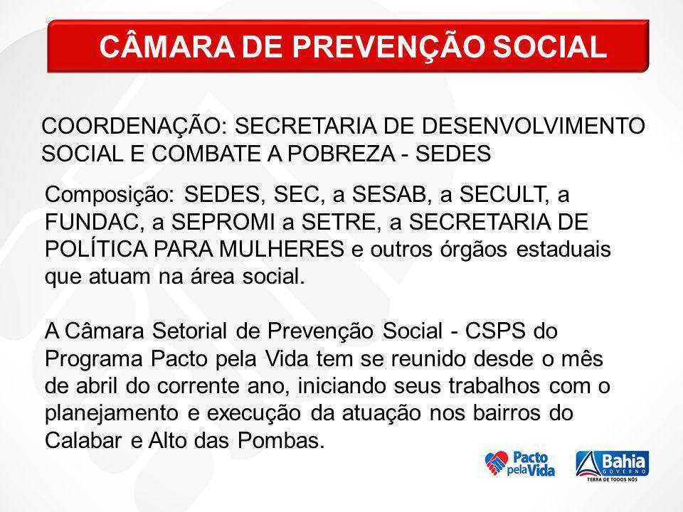 COORDENAÇÃO: SECRETARIA DE DESENVOLVIMENTO SOCIAL E COMBATE A POBREZA - SEDES Composição: SEDES, SEC, a SESAB, a SECULT, a FUNDAC, a SEPROMI a SETRE,