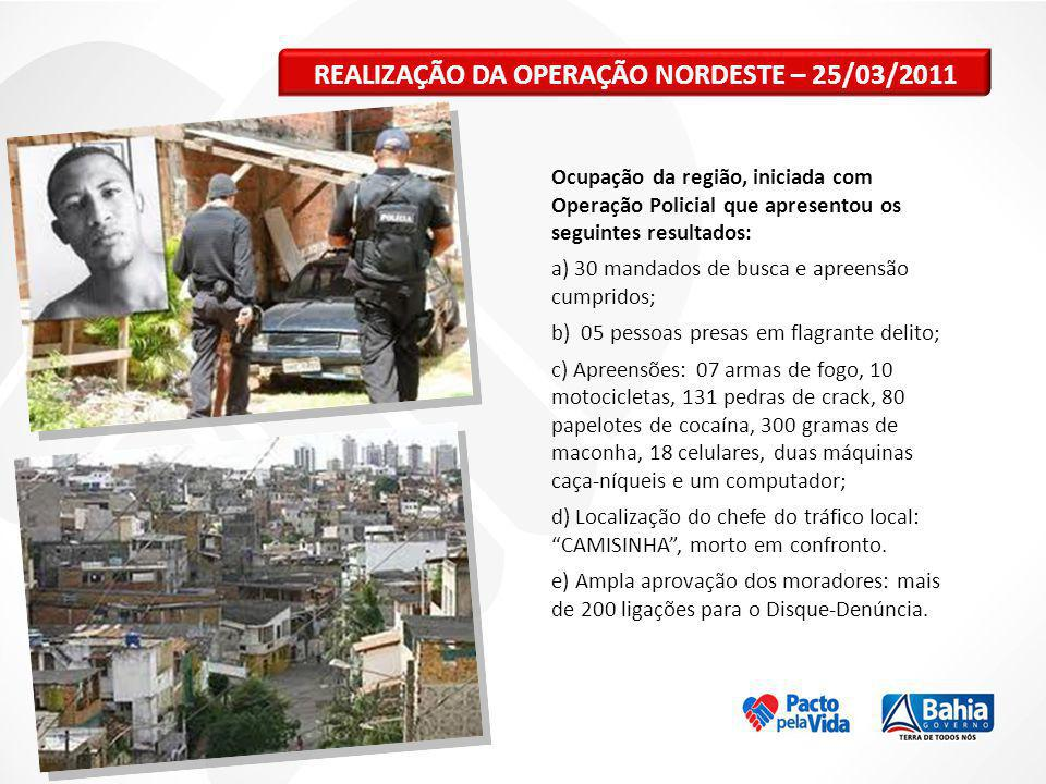 REALIZAÇÃO DA OPERAÇÃO NORDESTE – 25/03/2011 Ocupação da região, iniciada com Operação Policial que apresentou os seguintes resultados: a) 30 mandados