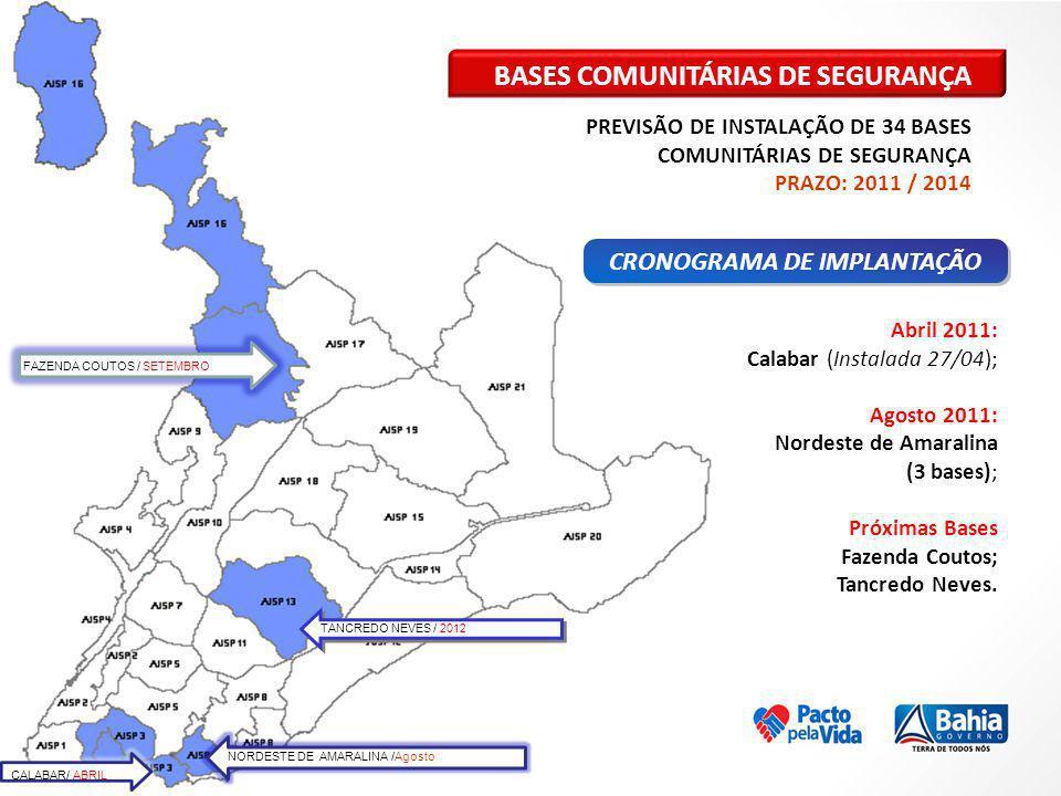 CALABAR/ ABRIL NORDESTE DE AMARALINA /Agosto TANCREDO NEVES / 2012 FAZENDA COUTOS / SETEMBRO BASES COMUNITÁRIAS DE SEGURANÇA PREVISÃO DE INSTALAÇÃO DE