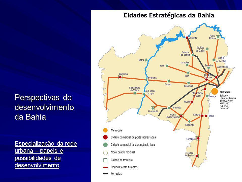 Perspectivas do desenvolvimento da Bahia Especialização da rede urbana – papeis e possibilidades de desenvolvimento Cidades Estratégicas da Bahia