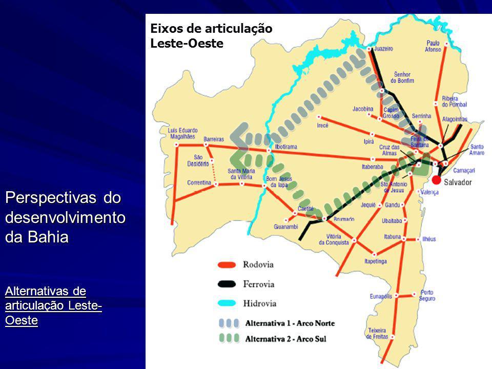 Perspectivas do desenvolvimento da Bahia Alternativas de articulação Leste- Oeste Eixos de articulação Leste-Oeste