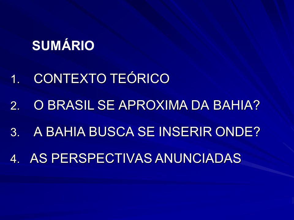 1. CONTEXTO TEÓRICO 2. O BRASIL SE APROXIMA DA BAHIA? 3. A BAHIA BUSCA SE INSERIR ONDE? 4. AS PERSPECTIVAS ANUNCIADAS SUMÁRIO