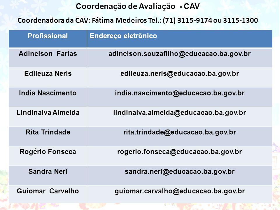 Coordenação de Avaliação - CAV Coordenadora da CAV: Fátima Medeiros Tel.: (71) 3115-9174 ou 3115-1300 ProfissionalEndereço eletrônico Adinelson Farias